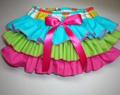 Little Miss Fiesta Newborn Infant Toddlers Turquoise Green Apple Hot Pink Ruffle Bloomers Diaper Cover