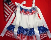 READY TO SHIP All Sizes Newborn to 24 Months Little Miss America July 4th Double Ruffle Pillowcase Dress Red, White and Starry Blue
