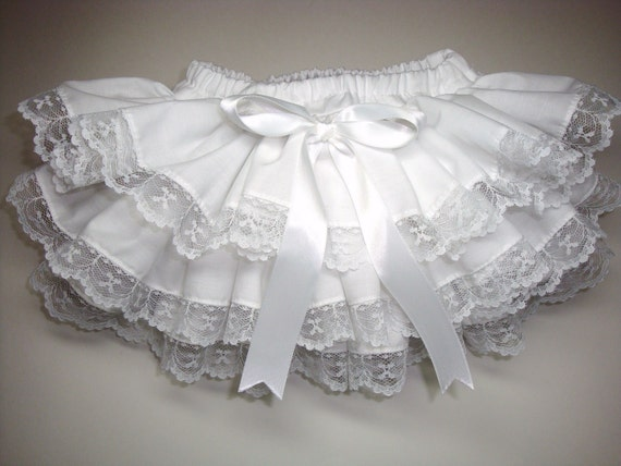 Ready to SHIP NEWBORN Angelic White with Lace Ruffle Diaper Cover Bloomers for Beach Portrait Wear