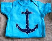 CUTE BABY ONESIE hand dyed, nautical, summer