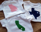 Pick Your State Hand Painted Onesies or Toddler Shirts- custom city and state baby and toddler clothes