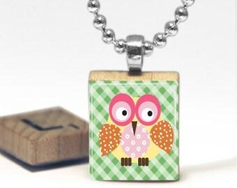 Cute Owl Scrabble Tile Pendant Necklace by Cheeky Monkey Pendants Gift-Present
