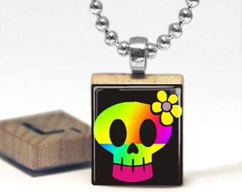 Techno Skull  Scrabble Tile Pendant Necklace by Cheeky Monkey Pendants Gift-Present