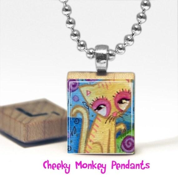 Cute Kitty Scrabble Tile Pendant Necklace by Cheeky Monkey Pendants