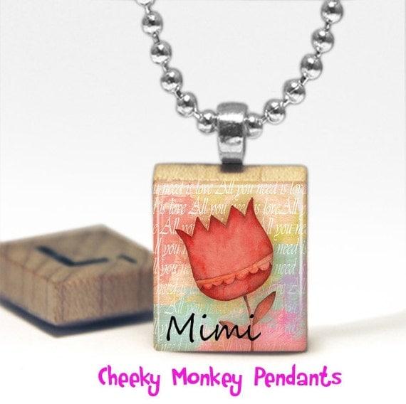 Mimi Scrabble Tile Pendant Necklace by Cheeky Monkey Pendants Gift-Present