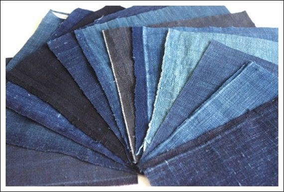 12 Very Old Japanese Solid Indigo Vintage Cotton Fabric Squares, All Different