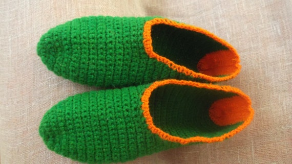 Crochet wool slippers GREEN with orange trim