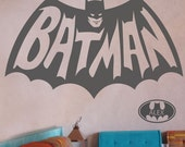 Batman wall sticker 1960's version plus free name in a batwing