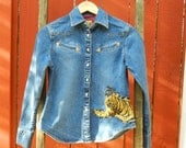 Denim Shirt with Tiger Patch - Extra Small