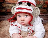 Crochet Sock Monkey Hat, Photo Prop,