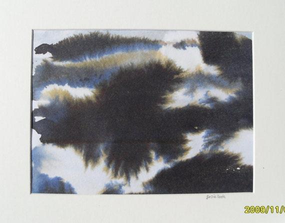 """Ink experiment, original abstract mixed media landscape, 8"""" x 10"""""""