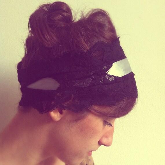 Lace Headband Black/Gray - Womens Headbands Head Wraps, Head Bands Fabric Headband, Hair Turban Head Scarf Hair Wrap