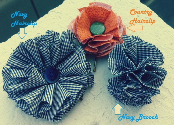 Navy Flower Hair Clip / Coutry Flower Hairlip / Navy Brooch
