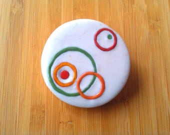 Mod Circles Autumn brooch - polymer clay with gold pin-back 2