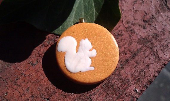 Fall woodland critters Squirrel - polymer clay pendant with ivory coloured squirrel detail inlay on copper with gold bail