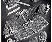 Vintage Crochet Pattern Shell Stitch Baby Sweater Cap Mittens Booties Instant Download