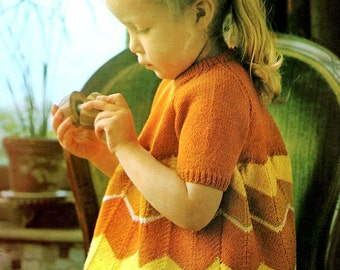 Vintage Knitting Pattern Little Girls Chevron Dress Instant Digital Download