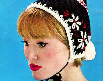 Vintage Crochet Hat Beanie Pattern Instant Download