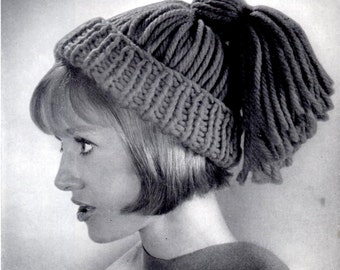 Vintage Knitted Ponytail Hat Instant Download
