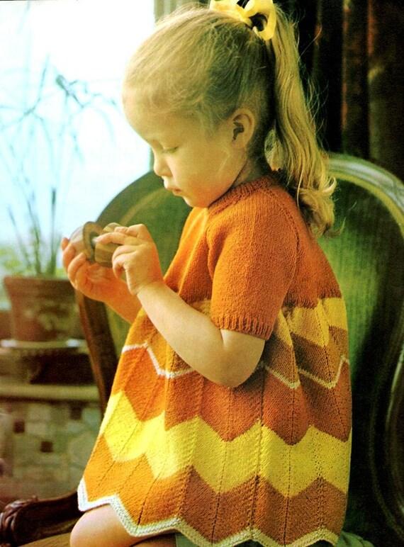 Vintage Knitting Pattern Little Girls Chevron Dress Instant Digital Download