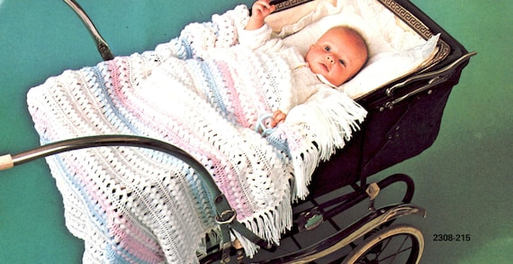 Vintage Hairpin Lace Crochet Baby Blanket Pattern Instant Download