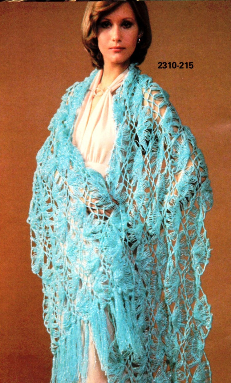 Vintage Hairpin Lace Crochet Shawl Pattern By