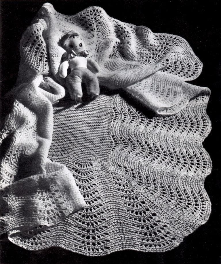 Vintage Knitting Pattern Baby Blanket : Vintage Knitting Pattern Fan Stitch Shawl Baby Blanket Instant