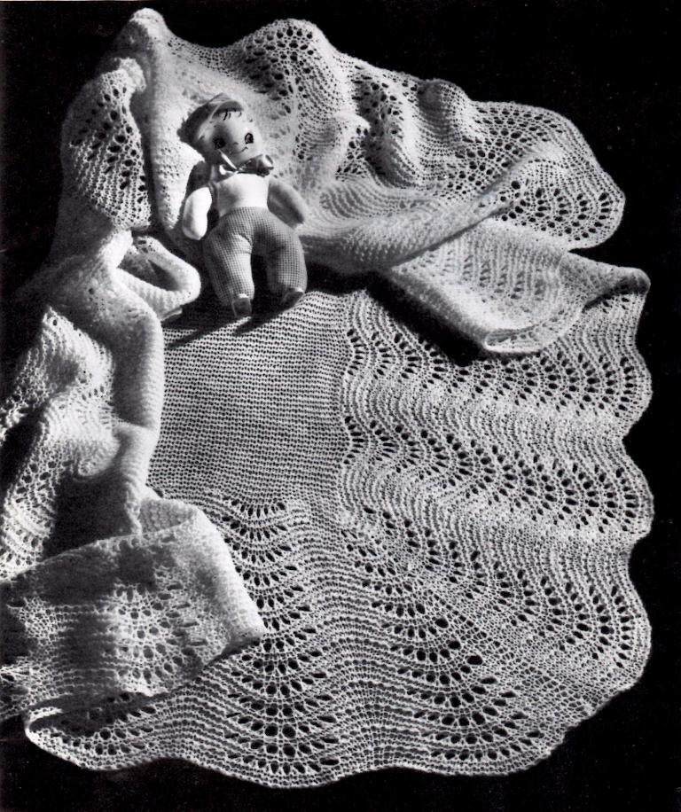 Vintage Knitting Baby Patterns : Vintage Knitting Pattern Fan Stitch Shawl Baby Blanket Instant