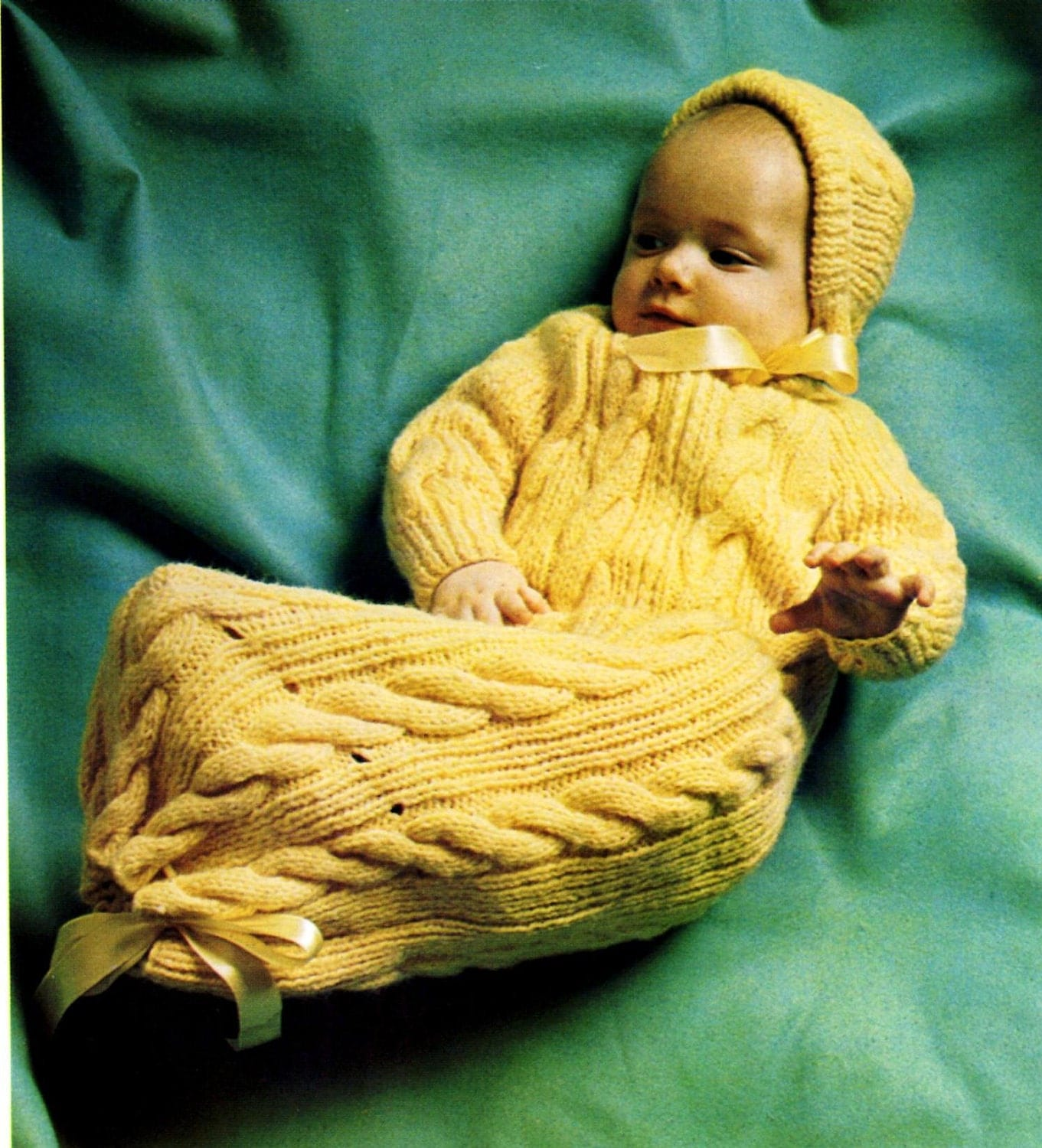 Vintage Knitting Pattern Cable Baby Bunting Sleep Bag and Hat
