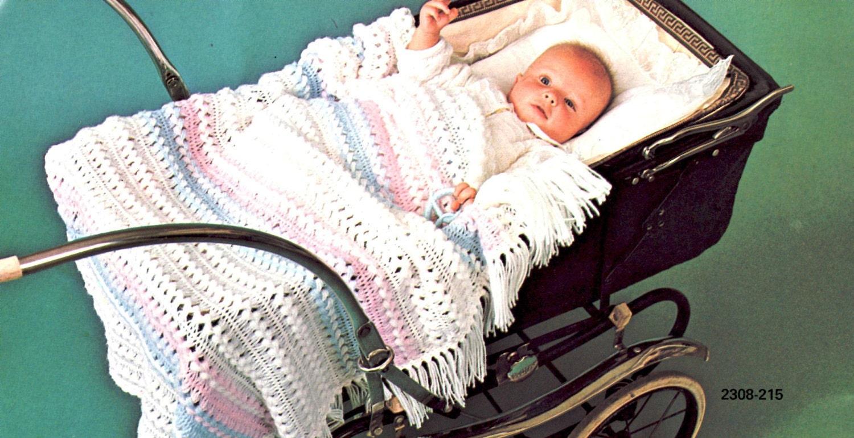 Vintage Crochet Patterns Baby Blankets : Vintage Hairpin Lace Crochet Baby Blanket Pattern Instant
