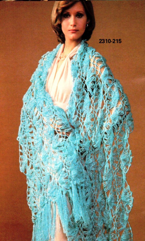 Vintage Hairpin Lace Crochet Shawl Pattern Instant Digital
