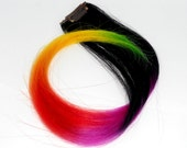 Hair Extension - Ready to Ship - Electric Sunset -Dip Dyed - Weft Clip Extensions - Ombre - Free People -Up to 18inch Brown