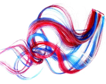 W O N D E R Woman/// One Hair Extension - Red - White - Blue - Patriotic - 4TH OF July Hair - Weft Clip Extensions-Liberty Bell