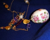 SALE 20% OFF Vintage Enameled Porcelain Egg Pendant with Swarovski Crystals and Gold-Fill chain