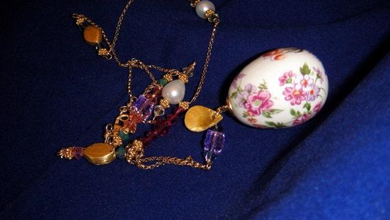 SALE 20% OFF Vintage Enameled Porcelain Egg Pendant with Swarovski Crystals and Gold-Fill chain