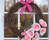 Grapevine Wreath with Light Pink Rose accents