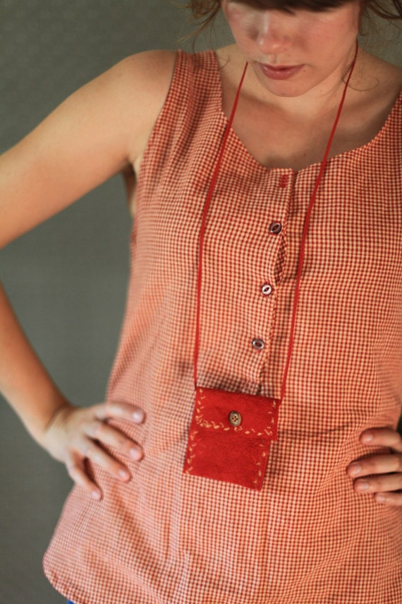 Red Suede Necklace Pouch