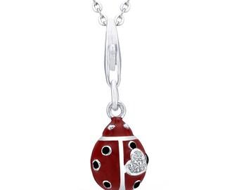 925 Sterling Silver Ladybug Necklace - AZDBN3431DZ