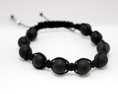 SALE  Mens Macrame Bracelet with Natural Onyx Beads