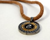 Mens Tan Leather Necklace with Dragon Pendant