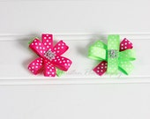 Flower Hair Clips, Hot Pink and Green Polka Dots- Set of 2