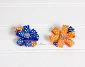 Flower Hair Clips, Orange and Royal Blue Polka Dots- Set of 2