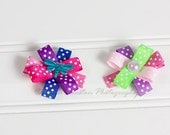 Flower Hair Clips, Brights and Pastels, Polka Dots- Set of 2