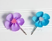 Flower Hair Pins, Lavender and Turquoise Grosgrain Ribbon- Set of 2