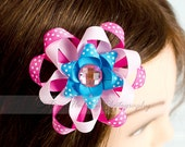 Ribbon Flower Hair Clip, Pink, Bright Blue, Hot Pink, Polka Dot