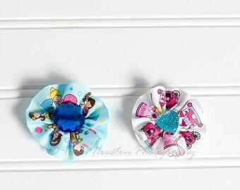 Ribbon Flower Hair Clips, Blue, White- Set of 2