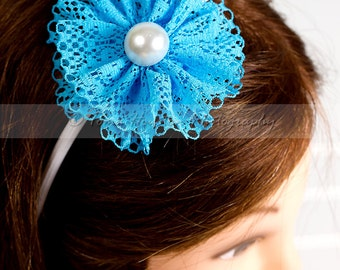 Turquoise Lace Flower, White Headband with Pearl Center