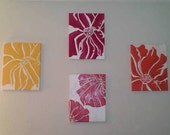 Flower Power - set of 4 flower paintings in vibrant colors of burgundy, yellow, orange and red
