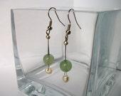 Cream Freshwater Pearl and Green Jade Glass Earrings