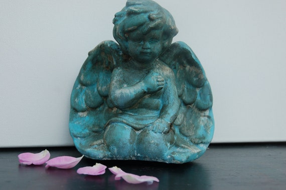 Turquoise black silver and gold antiqued upcycled guardian angel/cherub figurine nursery decor baptism gift  baby gift romantic